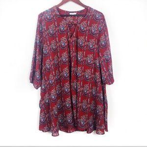 Dresses & Skirts - Red Floral Paisley Boho Boutique Dress